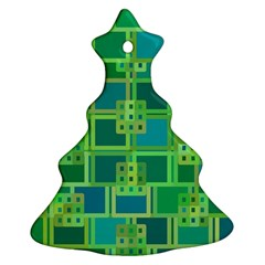 Green Abstract Geometric Christmas Tree Ornament (two Sides)