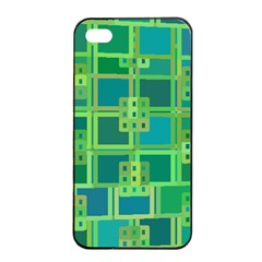 Green Abstract Geometric Apple Iphone 4/4s Seamless Case (black)