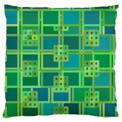 Green Abstract Geometric Large Cushion Case (one Side)