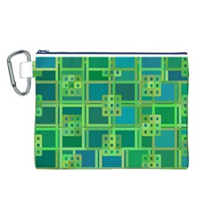 Green Abstract Geometric Canvas Cosmetic Bag (l)