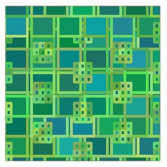 Green Abstract Geometric Large Satin Scarf (square)