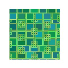 Green Abstract Geometric Small Satin Scarf (square)