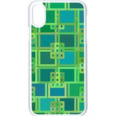 Green Abstract Geometric Apple Iphone X Seamless Case (white)