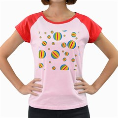 Balloon Ball District Colorful Women s Cap Sleeve T Shirt
