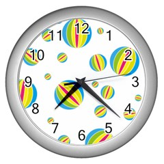 Balloon Ball District Colorful Wall Clocks (silver)