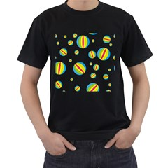 Balloon Ball District Colorful Men s T Shirt (black) (two Sided)