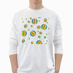 Balloon Ball District Colorful White Long Sleeve T Shirts