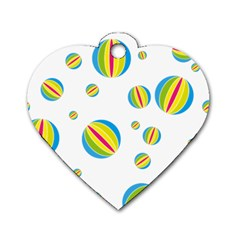 Balloon Ball District Colorful Dog Tag Heart (two Sides)