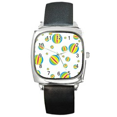 Balloon Ball District Colorful Square Metal Watch