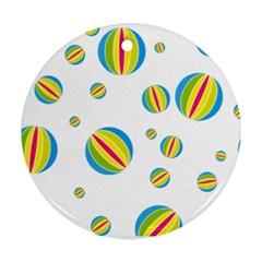Balloon Ball District Colorful Round Ornament (two Sides)