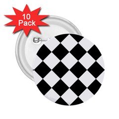 Grid Domino Bank And Black 2 25  Buttons (10 Pack)