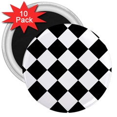 Grid Domino Bank And Black 3  Magnets (10 Pack)