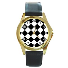 Grid Domino Bank And Black Round Gold Metal Watch