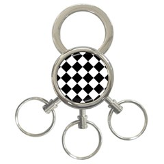 Grid Domino Bank And Black 3 Ring Key Chains