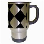 Grid Domino Bank And Black Travel Mug (Silver Gray) Right