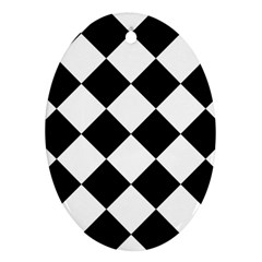 Grid Domino Bank And Black Oval Ornament (two Sides)