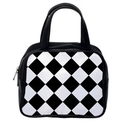 Grid Domino Bank And Black Classic Handbags (one Side)
