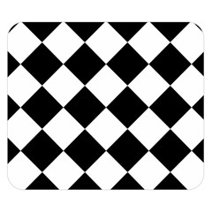 Grid Domino Bank And Black Double Sided Flano Blanket (small)