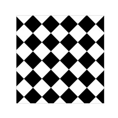 Grid Domino Bank And Black Small Satin Scarf (square)