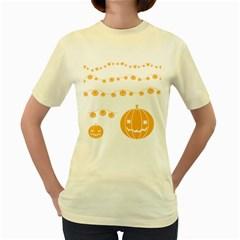 Pumpkin Halloween Deco Garland Women s Yellow T Shirt