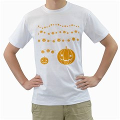 Pumpkin Halloween Deco Garland Men s T Shirt (white) (two Sided)