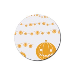 Pumpkin Halloween Deco Garland Rubber Coaster (round)