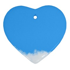 Sky Blue Blue Sky Clouds Day Ornament (heart)