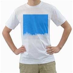 Sky Blue Blue Sky Clouds Day Men s T Shirt (white) (two Sided)