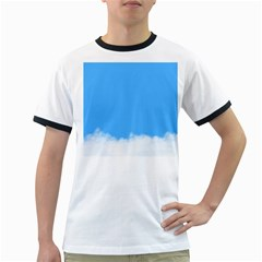Sky Blue Blue Sky Clouds Day Ringer T Shirts