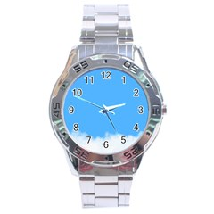 Sky Blue Blue Sky Clouds Day Stainless Steel Analogue Watch