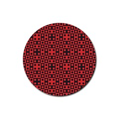 Abstract Background Red Black Rubber Round Coaster (4 Pack)