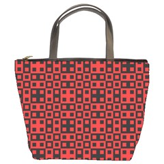 Abstract Background Red Black Bucket Bags