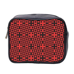 Abstract Background Red Black Mini Toiletries Bag 2 Side