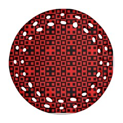 Abstract Background Red Black Round Filigree Ornament (two Sides)