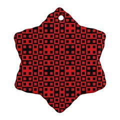 Abstract Background Red Black Snowflake Ornament (two Sides)