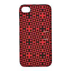 Abstract Background Red Black Apple Iphone 4/4s Hardshell Case With Stand
