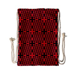 Abstract Background Red Black Drawstring Bag (small)