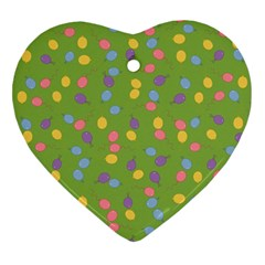 Balloon Grass Party Green Purple Heart Ornament (two Sides)