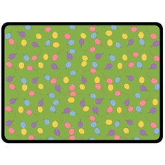 Balloon Grass Party Green Purple Double Sided Fleece Blanket (large)