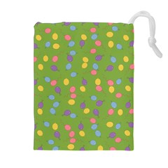 Balloon Grass Party Green Purple Drawstring Pouches (extra Large)