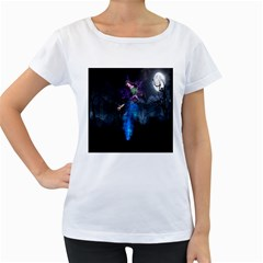 Magical Fantasy Wild Darkness Mist Women s Loose Fit T Shirt (white)