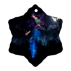 Magical Fantasy Wild Darkness Mist Snowflake Ornament (two Sides)