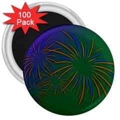 Sylvester New Year S Day Year Party 3  Magnets (100 Pack)