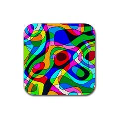 Digital Multicolor Colorful Curves Rubber Coaster (square)