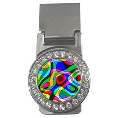 Digital Multicolor Colorful Curves Money Clips (cz)