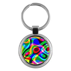 Digital Multicolor Colorful Curves Key Chains (round)
