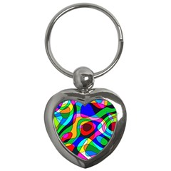 Digital Multicolor Colorful Curves Key Chains (heart)