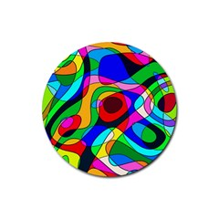 Digital Multicolor Colorful Curves Rubber Round Coaster (4 Pack)
