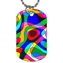 Digital Multicolor Colorful Curves Dog Tag (one Side)