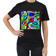 Digital Multicolor Colorful Curves Women s T Shirt (black) (two Sided)